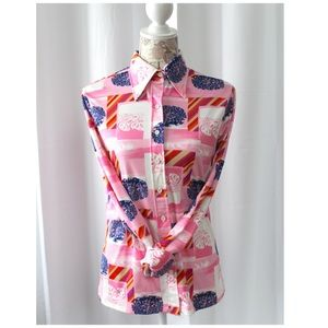 Vintage 70s Pink Print Poly Blouse Pointy Collar M